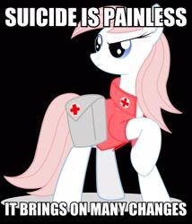 Size: 2071x2416 | Tagged: safe, artist:bludraconoid, nurse redheart, image macro, m*a*s*h, meme, solo, suicide