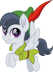 Size: 1110x1500 | Tagged: safe, artist:cloudyglow, rumble, pegasus, pony, colt, crossover, cute, flying, male, peter pan, rumblebetes, simple background, smiling, smiling at you, solo