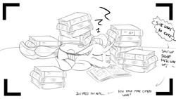 Size: 1152x648 | Tagged: safe, artist:sintakhra, ocellus, changedling, changeling, black and white, book, bookworm, cute, grayscale, lying down, monochrome, offscreen character, photo, simple background, sleeping, text, tumblr, tumblr:studentsix, zzz