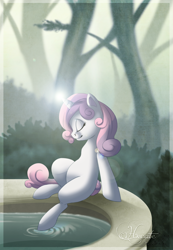 Size: 1024x1478 | Tagged: safe, artist:hecatehell, sweetie belle, pony, unicorn, eyes closed, fountain, fountain of youth, magic, solo, tree, water