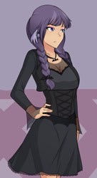 Size: 1044x1920 | Tagged: safe, artist:jonfawkes, inky rose, human, honest apple, clothes, dress, ear piercing, earring, female, goth, humanized, piercing, solo, wing ears