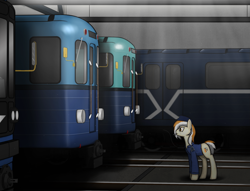Size: 1513x1157 | Tagged: safe, artist:subway777, oc, oc only, oc:godgi, earth pony, pony, 81-717/714, clothes, conductor, lens flare, metro, moscow metro, russia, solo, subway, train
