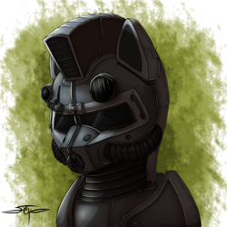 Size: 1000x1000 | Tagged: safe, artist:setharu, oc, oc only, oc:steelhooves, earth pony, pony, fallout equestria, abstract background, armor, bust, fanfic, fanfic art, male, portrait, power armor, signature, solo, stallion, steel ranger