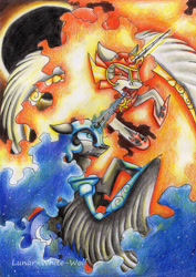 Size: 2411x3402 | Tagged: safe, artist:lunar-white-wolf, daybreaker, nightmare moon, alicorn, pony, a royal problem, duo, female, fight, helmet, royal sisters, sisters, traditional art