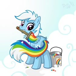 Size: 600x600 | Tagged: safe, artist:don-ko, rainbow dash, pegasus, pony, artifact, cloud, dye, dyed tail, female, hair dye, looking back, mare, mouth hold, paint, paint on fur, paintbrush, painting, rainbow paint, rainbow-less dash, signature, solo, this explains everything, white mane
