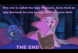 Size: 1078x739 | Tagged: safe, artist:jowybean, edit, princess celestia, princess luna, book, celestia's bedtime story, filly, image macro, meme, something smells, spongebob squarepants, the ugly barnacle, woona
