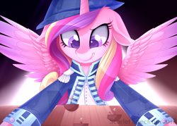 Size: 1600x1146 | Tagged: safe, artist:scarlet-spectrum, princess cadance, alicorn, pony, admiral, clothes, commission, female, floppy ears, hat, literal shipping, mare, metaphor, shipper on deck, shipping, smiling, solo, spread wings, toy ship, uniform, wings