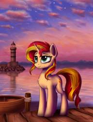 Size: 2000x2600 | Tagged: safe, artist:adagiostring, sunset shimmer, pony, unicorn, boat, chest fluff, cloud, cloudy, female, lighthouse, mare, pier, scenery, smiling, solo, sunset, water