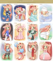 Size: 1734x2000 | Tagged: safe, artist:howxu, oc, oc only, oc:ruby aura, pony, semi-anthro, unicorn, animal costume, bipedal, cat costume, cheerleader, cheerleader outfit, cheongsam, christmas, clothes, compilation, cosplay, costume, crossover, cute, d.va, dress, female, hair bun, hat, hatsune miku, holiday, howxu is trying to murder us, judy hopps, mare, not fluttershy, ocbetes, overwatch, police, police officer, police uniform, pom pom, princess zelda, santa costume, santa hat, solo, the legend of zelda, the legend of zelda: breath of the wild, towel, victorian, video game crossover, vocaloid, wardrobe meme, water, zootopia