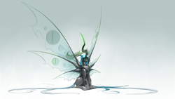 Size: 3840x2160 | Tagged: safe, artist:underpable, queen chrysalis, changeling, changeling queen, moth, original species, antagonist, antennae, cheeselegs, chest fluff, female, glowing eyes, gradient background, horn, large wings, long horn, mothling, multiple wings, seraph, simple background, sitting, six wings, solo, species swap, white background, wing fluff, wings