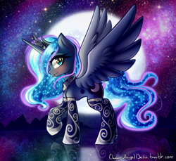 Size: 1309x1200 | Tagged: safe, artist:chaosangeldesu, princess luna, alicorn, pony, :p, blushing, clothes, female, jewelry, looking at you, mare, moon, side view, silly, socks, solo, stars, stockings, thigh highs, tiara, tongue out