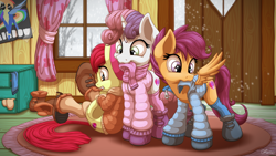 Size: 3840x2160 | Tagged: safe, artist:ohemo, apple bloom, scootaloo, sweetie belle, earth pony, pegasus, pony, unicorn, adorabloom, boots, clothes, clubhouse, crusaders clubhouse, cute, cutealoo, cutie mark, cutie mark crusaders, diasweetes, dressing, female, filly, indoors, jacket, mouth hold, scarf, shoes, snow, socks, the cmc's cutie marks, trio, winter outfit