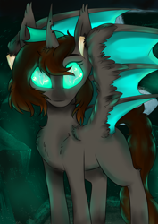 Size: 2480x3508 | Tagged: safe, artist:php70, derpibooru import, oc, oc only, bat pony, changeling, bat pony oc, changeling oc, chest fluff, glowing eyes, half changeling, looking at you, solo