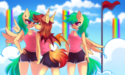 Size: 4555x2760 | Tagged: safe, artist:airiniblock, derpibooru import, oc, oc only, oc:cloud skipper, oc:sky rider, oc:sundown, anthro, bat pony, pegasus, pony, angry, bat pony oc, bat wings, breasts, clothes, cloud, cloudsdale, commission, ear piercing, eye contact, flag, flag pole, frown, green eyes, green mane, green tail, gym shorts, hand on hip, looking at each other, nervous, open mouth, orange mane, orange tail, pegasus oc, piercing, pink eyes, rainbow waterfall, rcf community, red eyes, red flag, shirt, shorts, side slit, sky, sports shorts, sporty style, spread wings, t-shirt, tanktop, teal eyes, twins, unamused, wings