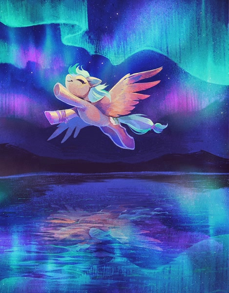 Size: 1461x1868 | Tagged: safe, artist:dearmary, oc, oc only, oc:summer ray, pegasus, pony, aurora borealis, eyes closed, featured image, female, flying, mare, night, reflection, smiling, solo, spread wings, wings