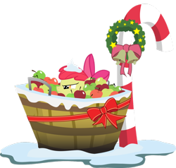 Size: 900x855 | Tagged: safe, artist:agryx, apple bloom, apple, candy cane, christmas, hearth's warming eve, hiding, lurking, ribbon, snow