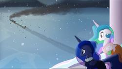 Size: 1920x1080 | Tagged: safe, artist:yudhaikeledai, princess celestia, princess luna, alicorn, pony, alicorn princess, cape, clothes, coat, dark, duo, duo female, female, floppy ears, friendship express, frostpony, frostpunk, i can't believe it's not hasbro studios, ice, mare, ponified, princess, sad, sadness, smoke, snow, snowfall, snowflake, standing, train, watching, winter clothes, winter coat, worried, worry, youtube link