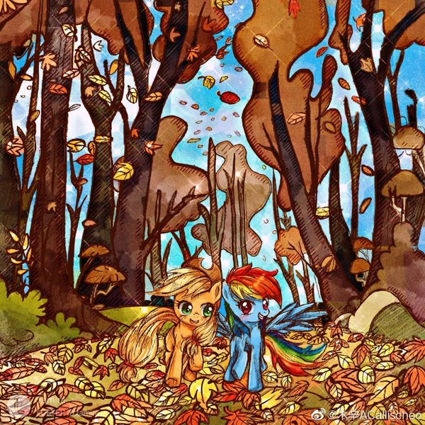Size: 2000x2000 | Tagged: safe, artist:tamira, derpibooru import, applejack, rainbow dash, earth pony, pegasus, pony, fall weather friends, autumn, duo, falling leaves, featured image, female, leaf, mare, outdoors, running of the leaves, scene interpretation