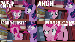 Size: 2000x1125 | Tagged: safe, derpibooru import, edit, edited screencap, editor:quoterific, screencap, pinkie pie, twilight sparkle, alicorn, earth pony, pony, pinkie apple pie, female, glowing horn, horn, magic, magic aura, nose in the air, open mouth, pinkie being pinkie, screaming