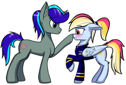 Size: 2791x1888 | Tagged: safe, artist:colourwave, derpibooru import, oc, oc only, oc:colourwave, pegasus, pony, unicorn, blushing, boop, clothes, cute, duo, ears, female, floppy ears, horn, male, mare, multicolored hair, pegasus oc, pilot, ponytail, scrunchy face, shipping, simple background, stallion, transparent background, unicorn oc, uniform, wings