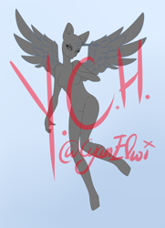 Size: 2892x4000 | Tagged: safe, artist:minelvi, derpibooru import, oc, oc only, alicorn, anthro, unguligrade anthro, alicorn oc, breasts, commission, eyelashes, featureless breasts, female, gradient background, horn, solo, wings, your character here