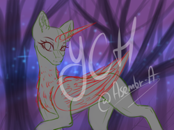 Size: 4000x3000 | Tagged: safe, artist:minelvi, derpibooru import, oc, oc only, alicorn, pony, alicorn oc, bald, chest fluff, commission, eyelashes, horn, outdoors, signature, solo, tree, wings, your character here