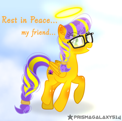 Size: 1564x1553   Tagged: safe, artist:prismagalaxy514, derpibooru import, oc, oc:sunrise glisten, pegasus, pony, halo, implied death, rest in peace, sad, solo, tribute