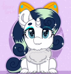 Size: 1666x1741 | Tagged: safe, artist:auroracursed, oc, oc only, oc:deeep dope, pony, unicorn, bow, chest fluff, commission, eyeshadow, female, horn, looking at you, makeup, mare, sitting, solo, starry eyes, wingding eyes