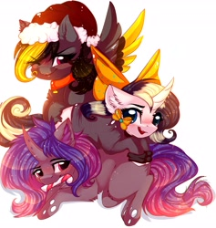Size: 3891x4096 | Tagged: safe, artist:1fresita, artist:kriss-studios, oc, oc only, oc:deeep dope, changeling, pegasus, pony, unicorn, blushing, bow, candy, candy cane, chest fluff, clothes, collar, ear fluff, ears, female, food, horn, mare, mouth hold, one eye closed, open mouth, simple background, trio, white background, wink