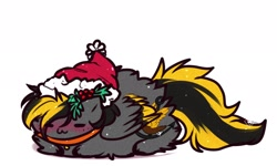 Size: 2086x1252 | Tagged: safe, artist:1fresita, artist:kriss-studios, oc, oc only, pegasus, pony, blushing, chibi, christmas, collar, female, fluffy, hat, holiday, holly, mare, santa hat, simple background, sleeping, solo, white background, wings