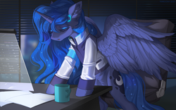 Size: 1596x998 | Tagged: safe, artist:margony, princess luna, alicorn, pony, art trade, clothes, crossover, detroit: become human, female, indoors, mare, night, office, official, open mouth, video game crossover