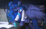 Size: 1596x998 | Tagged: safe, artist:margony, princess luna, alicorn, pony, art trade, clothes, crossover, cup, cutie mark, detroit: become human, female, indoors, large wings, mare, night, office, official, open mouth, paper, video game crossover