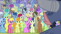 Size: 1920x1080 | Tagged: safe, derpibooru import, screencap, amethyst star, berry punch, berryshine, blues, bon bon, caramel, carrot top, cherry berry, cherry cola, cherry fizzy, cloud kicker, coco crusoe, daisy, derpy hooves, dizzy twister, doctor whooves, flower wishes, golden harvest, goldengrape, iron will, lemon hearts, lily, lily valley, lucky clover, meadow song, merry may, minuette, noteworthy, orange swirl, parasol, rainbowshine, roseluck, royal riff, sassaflash, sea swirl, seafoam, sir colton vines iii, sparkler, spring melody, sprinkle medley, sunshower raindrops, sweetie drops, twinkleshine, earth pony, minotaur, pegasus, pony, unicorn, putting your hoof down, background pony, eyes closed, female, flower trio, horn, male, mare, one of these things is not like the others, open mouth, smiling, stallion, wings