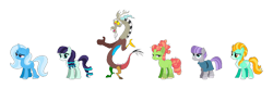 Size: 1280x422 | Tagged: safe, artist:lockandkeyhyena, artist:selenaede, derpibooru import, coloratura, discord, lightning dust, maud pie, tree hugger, trixie, draconequus, earth pony, pegasus, pony, unicorn, alternate hairstyle, base used, female, male, mare, rara, simple background, transparent background, white background