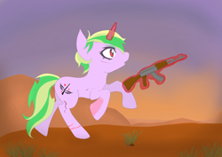 Size: 3508x2480 | Tagged: safe, artist:manta, oc, oc only, oc:iron sonata, pony, unicorn, fallout equestria, fallout equestria: mercenary tale, ak-47, burn scar, commission, commissioner:sapphie, cutie mark, desert, detailed background, female, glowing horn, horn, looking to side, looking to the right, magic, mare, open mouth, pink coat, plant, raised hoof, raised leg, red eyes, running, scar, shocked, short mane, shrub, solo, teenager, telekinesis, two toned mane, two toned tail