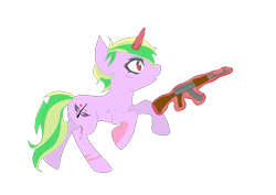 Size: 956x676 | Tagged: safe, alternate version, artist:manta, oc, oc only, oc:iron sonata, pony, unicorn, fallout equestria, fallout equestria: mercenary tale, ak-47, burn scar, commission, commissioner:sapphie, cutie mark, female, glowing horn, horn, looking to side, looking to the right, magic, mare, open mouth, pink coat, raised hoof, raised leg, red eyes, running, scar, shocked, short mane, simple background, solo, teenager, telekinesis, transparent background, two toned mane, two toned tail