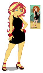 Size: 558x938 | Tagged: safe, artist:nairdags, derpibooru import, edit, sunset shimmer, equestria girls, black dress, bracelet, clothes, dress, ear piercing, earring, hand on hip, high heels, jewelry, kim possible, little black dress, picture in picture, piercing, shoes, simple background, solo, stupid sexy sunset shimmer, toes, white background