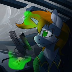 Size: 1800x1800 | Tagged: safe, artist:acesential, ponerpics import, oc, oc only, oc:littlepip, pony, unicorn, fallout equestria, angry, clothes, cloud, cloudy, deleted from derpibooru, fanfic, fanfic art, female, glowing horn, gun, handgun, hooves, horn, levitation, little macintosh, magic, magic glow, mare, optical sight, pipbuck, revolver, scope, solo, telekinesis, vault suit, weapon