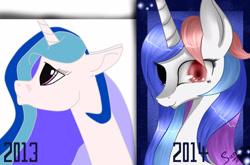 Size: 3017x1987 | Tagged: safe, artist:herusann, derpibooru import, oc, oc only, pony, unicorn, abstract background, black sclera, bust, duo, heterochromia, horn, redraw, smiling, unicorn oc