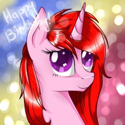 Size: 1024x1024 | Tagged: safe, artist:herusann, derpibooru import, oc, oc only, pony, unicorn, abstract background, bust, female, happy birthday, horn, mare, smiling, solo, unicorn oc