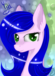 Size: 1836x2520 | Tagged: safe, artist:herusann, derpibooru import, oc, oc only, earth pony, pony, abstract background, bust, ear fluff, ears, earth pony oc, solo