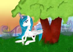 Size: 2920x2080 | Tagged: safe, artist:herusann, derpibooru import, oc, oc only, alicorn, pony, alicorn oc, eyelashes, female, horn, lying down, mare, outdoors, prone, solo, tree, wings