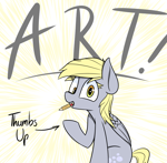 Size: 2076x2031 | Tagged: safe, artist:pinkberry, derpy hooves, pegasus, female, looking at you, mare, mouth hold, pencil, solo, sunburst background, text