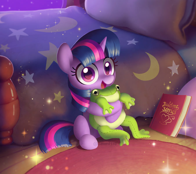 Size: 1500x1332 | Tagged: safe, artist:dawnfire, twilight sparkle, unicorn twilight, frog, pony, unicorn, bed, bedroom, book, cute, featured image, female, filly, filly twilight sparkle, hug, looking at you, moon, open mouth, pillow, plushie, plushie hug, solo, sparkles, twiabetes, watermark, younger