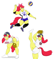 Size: 2904x3160 | Tagged: safe, artist:matchstickman, apple bloom, anthro, earth pony, plantigrade anthro, apple brawn, baseball, clothes, female, high res, muscles, muscular female, shorts, simple background, solo, sports, volleyball, white background