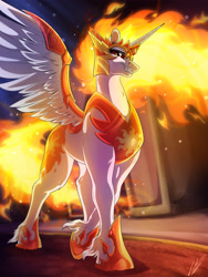 Size: 3000x4000 | Tagged: safe, artist:lupiarts, derpibooru import, daybreaker, alicorn, armor, badass, burning, castle, castle of the royal pony sisters, commission, digital art, fangs, unshorn fetlocks, villainess