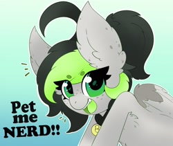 Size: 2164x1825 | Tagged: safe, artist:pegamutt, derpibooru import, oc, oc:bree, oc:bree jetpaw, pegasus, big ears, collar, cowlick, ears, fangs, fluffy, freckles, looking at you, open mouth, pegamutt, ponytail, solo, spots, text