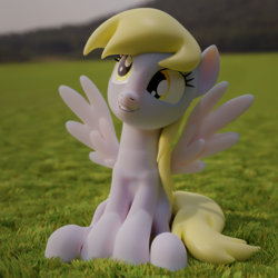 Size: 3840x3840 | Tagged: safe, artist:xppp1n, derpy hooves, 3d, blender, blender cycles, grass field, sitting, smiling, solo