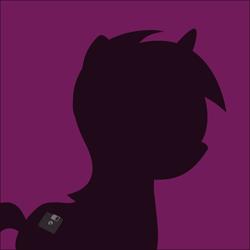 Size: 2000x2000 | Tagged: safe, edit, editor:luzion, ponybooru exclusive, oc, oc:heart drive, unicorn, bust, cutie mark, derpibooru background pony icon, floppy disk, ponybooru mascot, portrait, silhouette, simple background