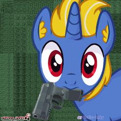 Size: 700x700   Tagged: safe, artist:artistic-inky, derpibooru import, oc, oc only, oc:solidshot, unicorn, gun, handgun, horn, mouth hold, pistol, single, unicorn oc, weapon